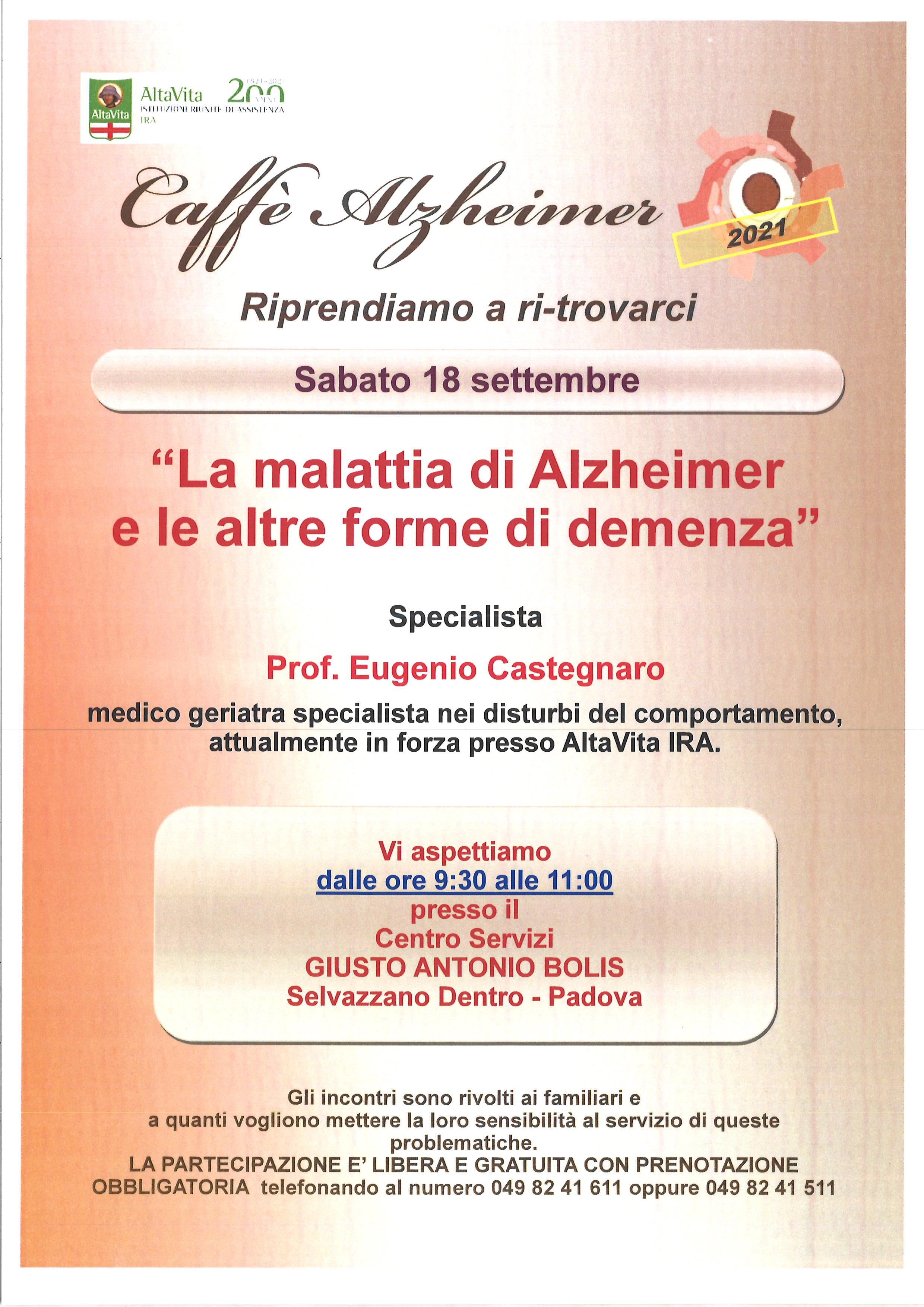 Caffè Alzheimer presso il Centro Servizi Bolis – sabato 18 settembre 2021